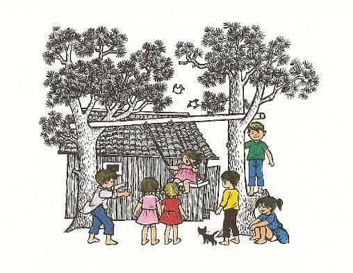 """ilustracja z książki """"Dzień Dziecka w Bullerbyn"""""""