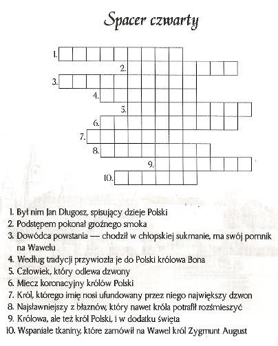 Krzyżówka o Krakowie