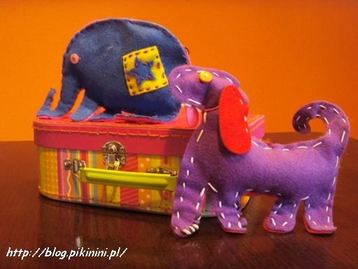 Słonio-mrówkojad z pieskiem i walizeczką do szycia