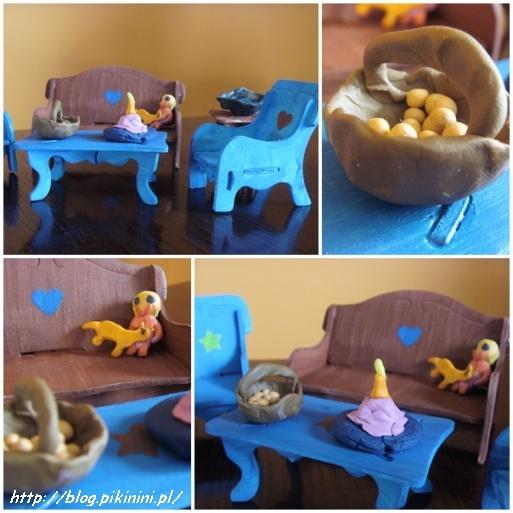 Plastelinowe akcesoria w domku dla lalek