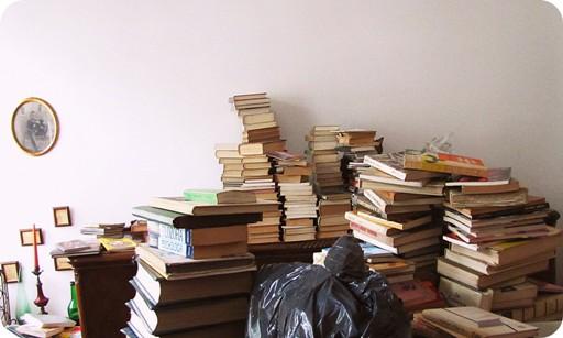 Książki w stosikach
